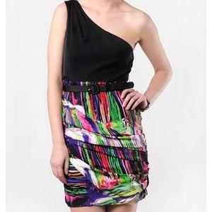 Alice + Olivia One Shoulder Rainbow Silk Dress
